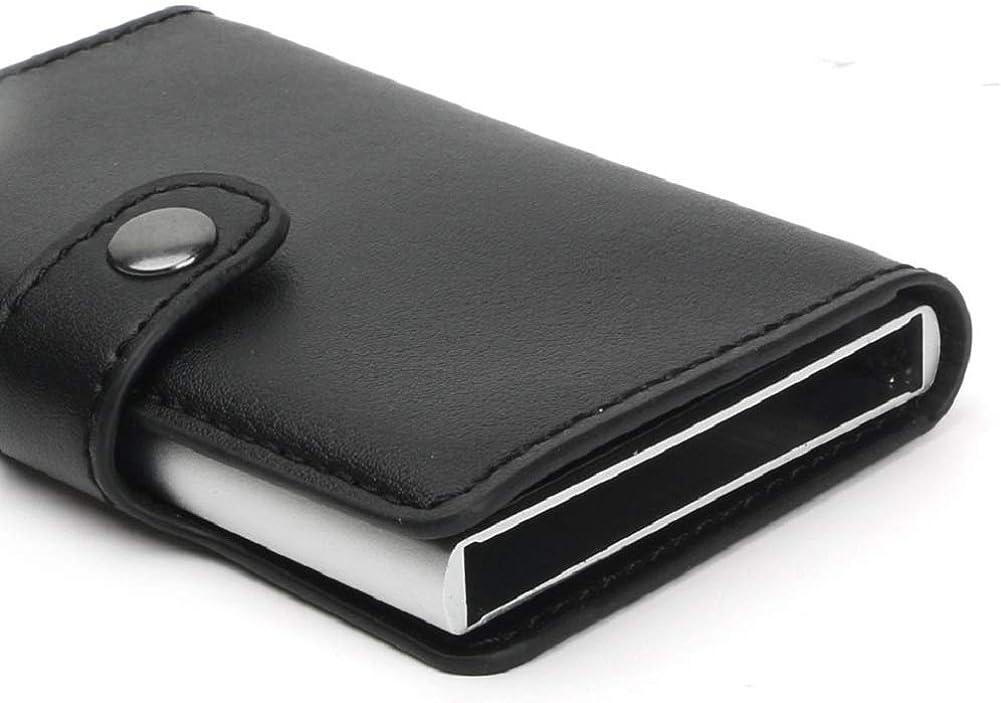 AWDNB Titulaire De La Carte De Cr/édit De 4 Couleurs D/émagn/étisante Anti-vol RFID Carte Paquet Automatique Pop-up Portefeuille En Alliage Daluminium Protection Bouton