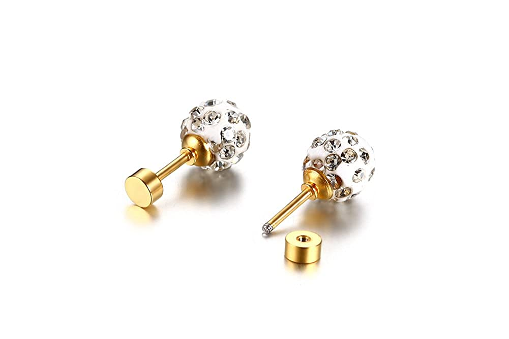 Aegean Jewelry Titanium Stainless Steel Ladys Fashion Stud Earrings with a Gift Box and a Cute Gift