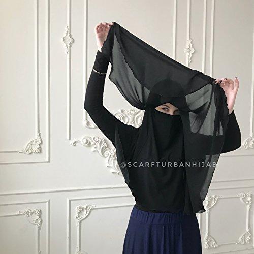 Handmade women's black hijab niqab burqa veil islamic scarf Eid gift khimar saudi muslim clothing