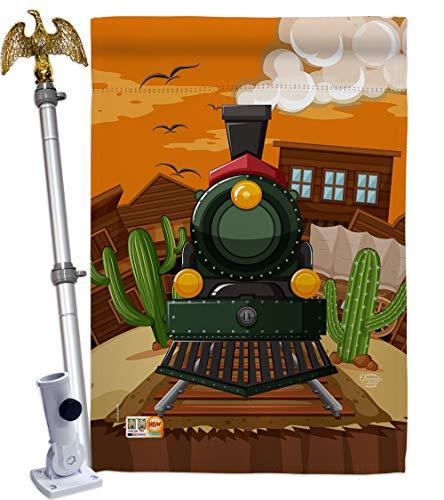 Ornament Collection HS192127-BO-02 Wild West Train Interests Hobbies Decorative Vertical House Flag Set, 28