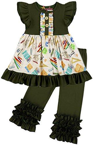 Toddler Little Girls Back to School Dark Green Moss Crayon Book Ruffles Capri Set 3T
