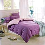 Getmorebeauty Pure Cotton Double Colors Bed Quilt Doona Duvet Cover Set (Twin, Purple and Pink)