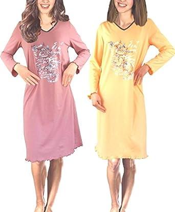 54a0984393 Damen Langarm Nachthemd reine Baumwolle 2 StŸck Packung: Amazon.co.uk:  Clothing