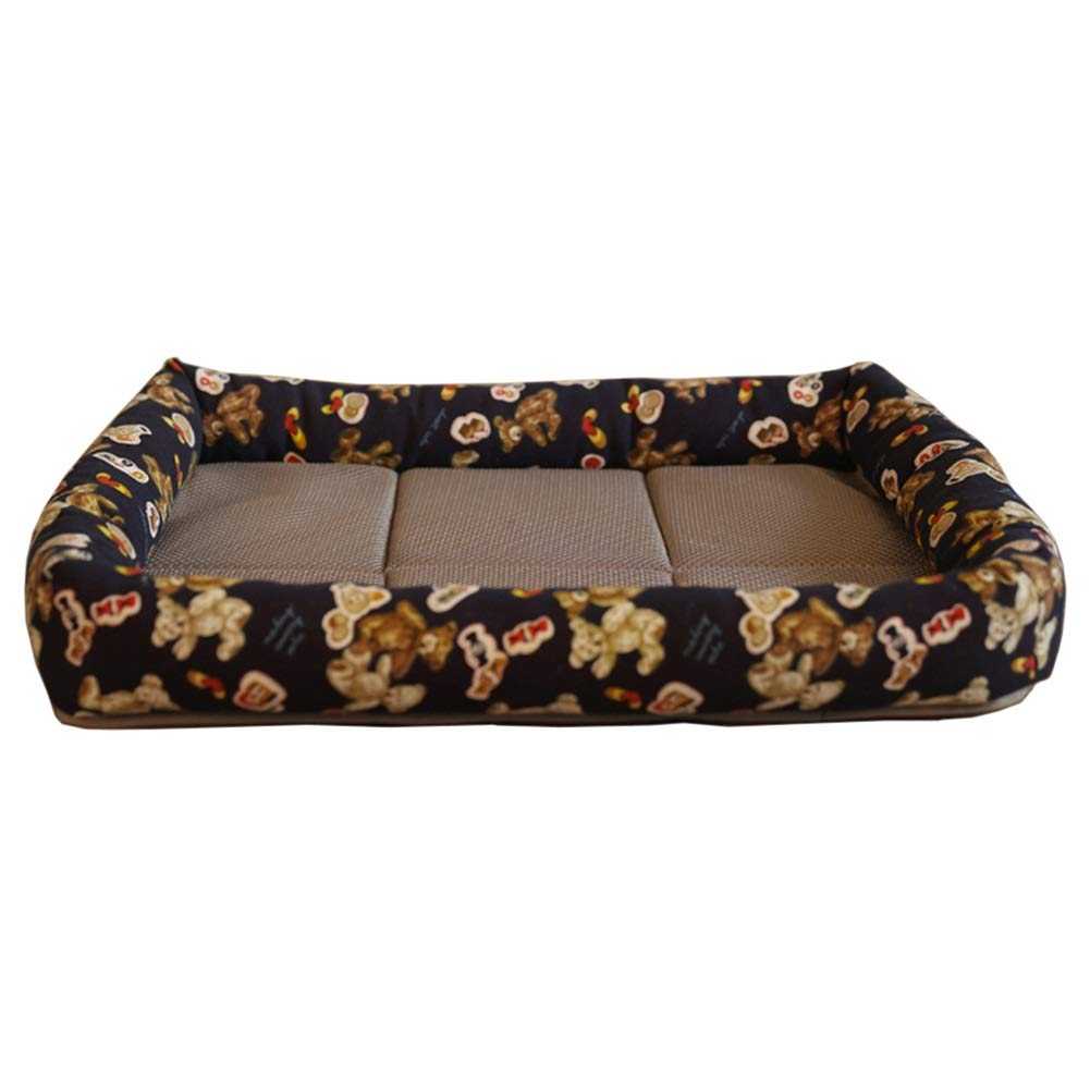 L 68×48×10cm LXLA Lightweight Pet Beds   Summer Dog & Cat Cushion with Cooling Mat   Double-Sided Use (Size   L 68×48×10cm)
