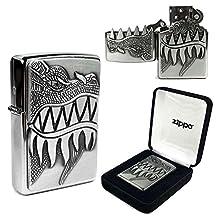 Zippo Lighter Brushed Chrome 'Dragon' design - 28969
