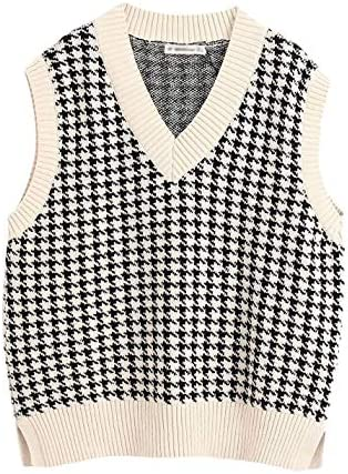 Gihuo Women's Vintage Loose V Neck Sleeveless Houndstooth Knitted Sweater Vest