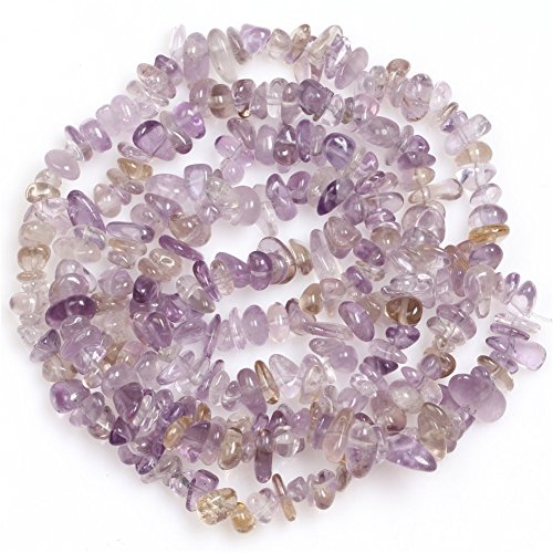6-8mm Natural Ametrine Chips Beads For Jewelry Making Freeform Light Purple 34