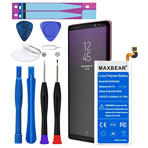 Galaxy Note 8 Battery,MAXBEAR 3300mAh Li-Polymer Built-in Battery EB-BN950ABE Replacement for Samsung Galaxy Note 8 SM-N950 N950T N950A N950P N950V N950R4 with Free Tool. [12 Month Warranty]