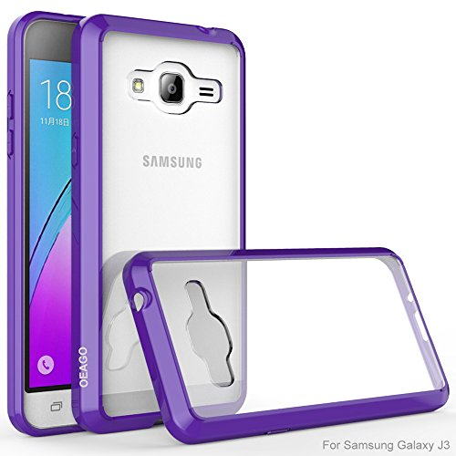 J3 Case, Galaxy Amp Prime Case, Galaxy Express Prime Case, OEAGO [Hybrid Bumper] Shockproof Case and Clear Hard Back Panel for Samsung Galaxy J3 (2016) / Amp Prime / Galaxy Express Prime - Purple (Samsung Galaxy Exhibit Case Bling)