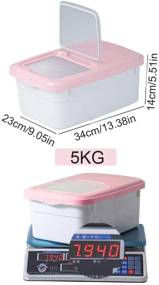 Doppio Sigillo Contenitore per Cereali Blue 5 KG//11 LBS Fagioli Secchio per Riso Farina Cibo Secco con misurino Contenitore per Riso da 5 kg Hamkaw