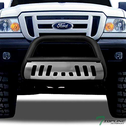 (Topline Autopart Matte Black Bull Bar Brush Push Front Bumper Grill Grille Guard With Brush Aluminum Skid Plate For 98-11 Ford Ranger)