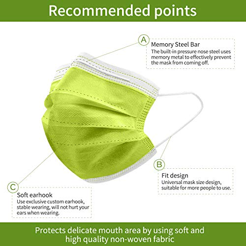 Green Face Mask, Green Disposable Face Mask with 2 Mask Strap Extender, Anti Pollen Masks, Daily Protection Mask with Filter Layer and Knitted Earloops Green Face Masks (Pack of fifty)