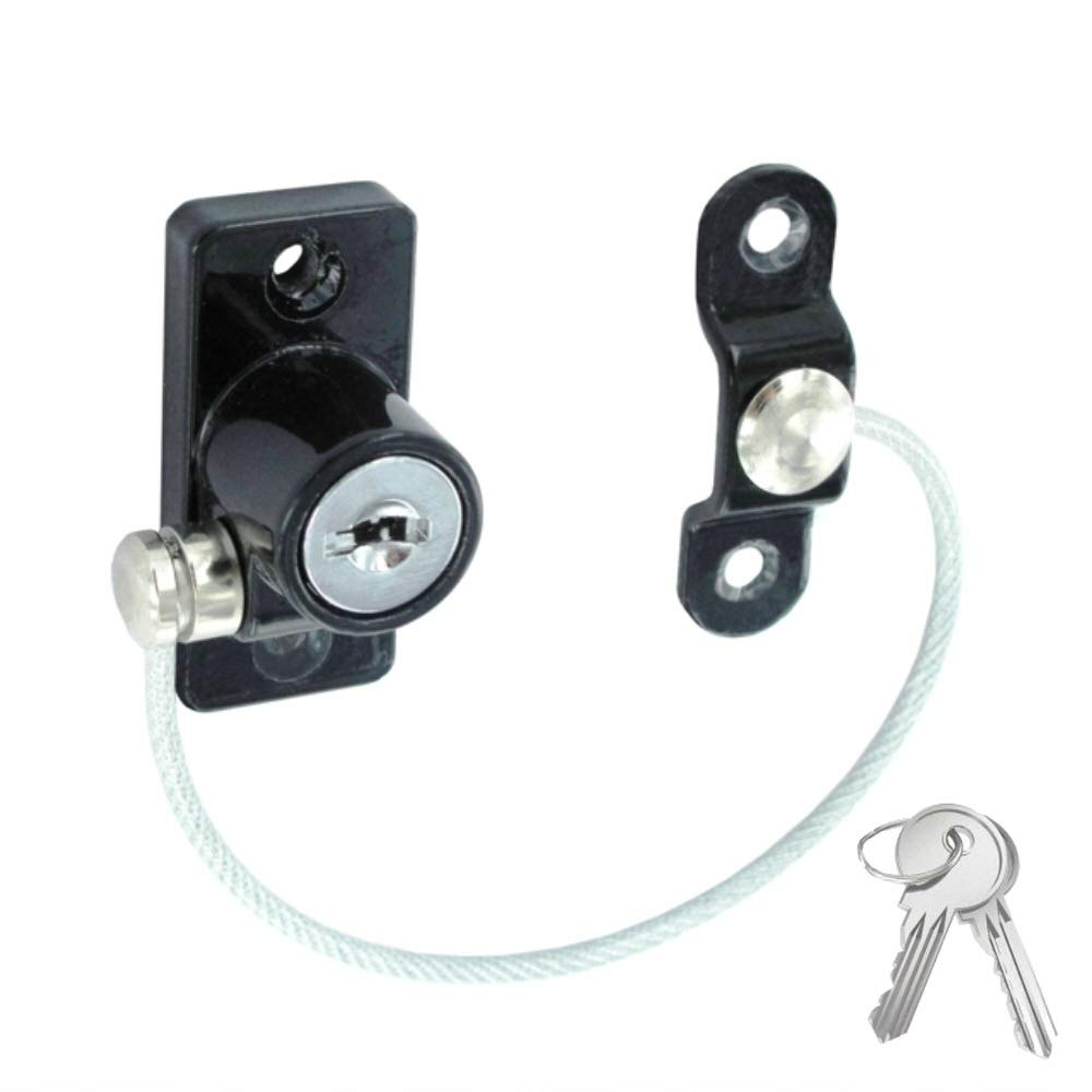 Black Pack of 2 Linx Window /& Door Cable Restrictor Lock with Security Cable Wire