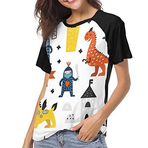 HFJDLSKR Dragons and Knights Women Short Raglan Sleeve Baseball T Shirts