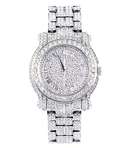 Men's Iced Out 45mm Silver Casual Iced Out Diamond Watch | Japanese Quartz | Analog Display | Adjustable Links