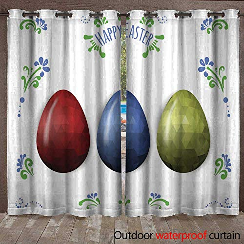 BlountDecor Door/Gazebo Curtain Colorful Easter Eggs Greeting Polygonal Vector Design Low Poly Waterproof CurtainW108 x L96