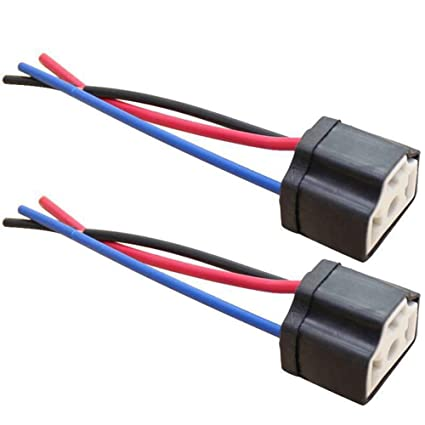 h4 socket maserfaliw 2pcs h4 9003 ceramic wire wiring car head light bulb  lamp harness 3