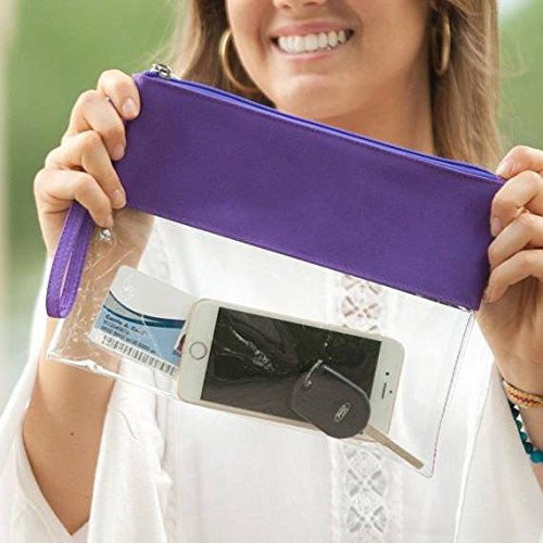 MONOBLANKS Clear Zip Pouch with Detachable Crossbody Adjustable Strap and Wristlet (Purple) by MONOBLANKS (Image #3)