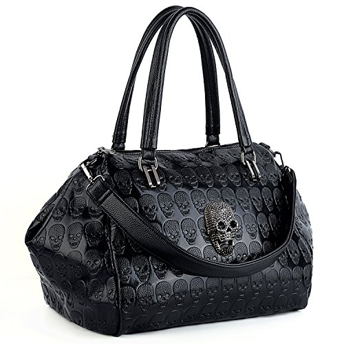 Purse Bag Skull Style Tote Bag Rivet Women Ladies UTO Leather Black Studded Washed PU Shoulder 4 1vSBnwx