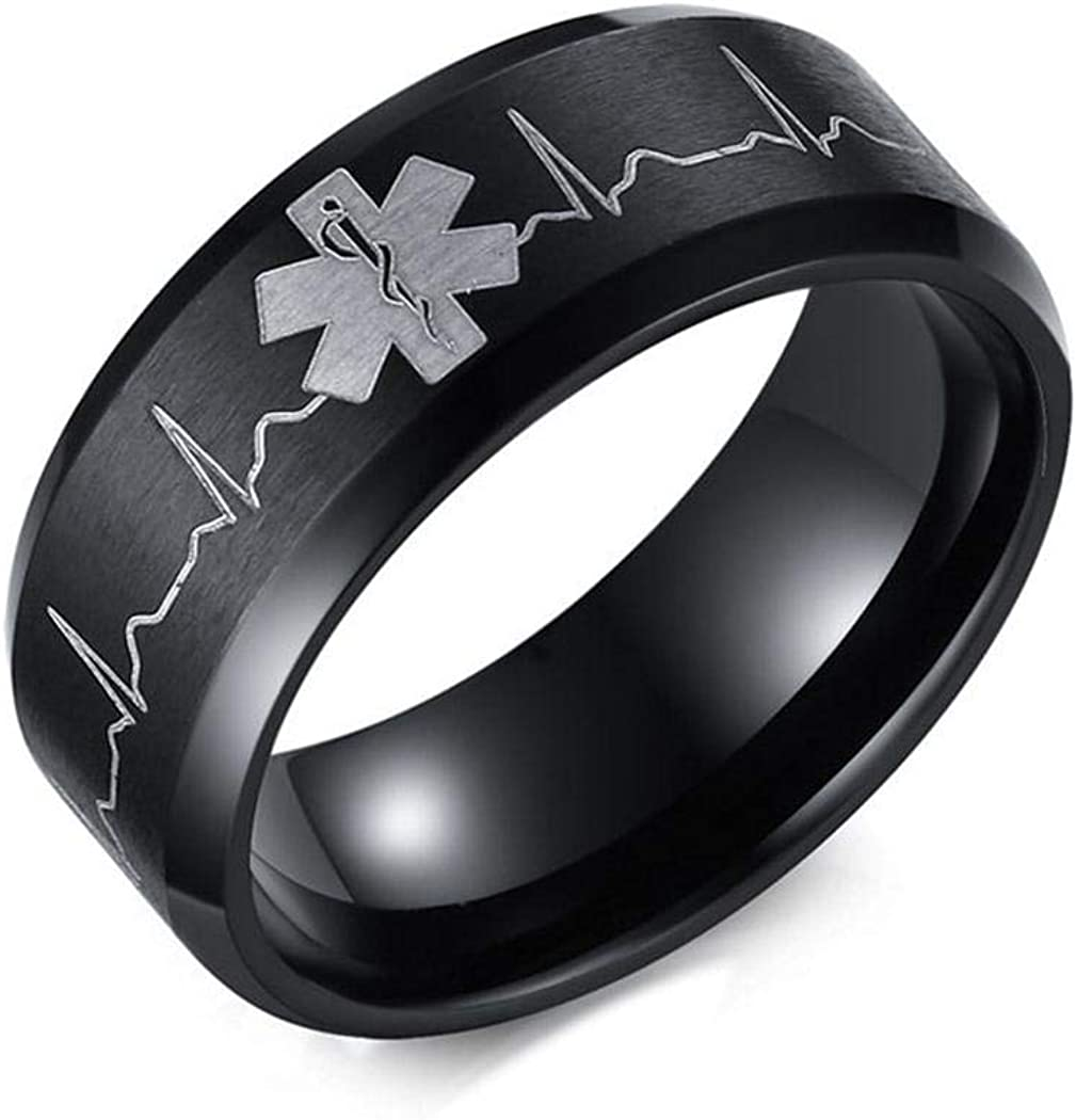 Medical Identification JEWURA Biker Ring Fashion Stainless Steel Jewelry