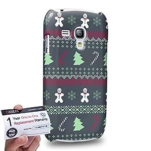 Case88 [Samsung Galaxy S3 Mini] 3D impresa Carcasa/Funda dura para & Tarjeta de garantía - Art Fair Isle Winter Prints Burgundy on Grey