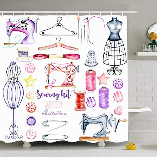 Ahawoso Shower Curtain 60 x 72 Inches Retro Pink Atelier Watercolor Sewing Hand Purple Hanger Button Dress Dummy Design Waterproof Polyester Fabric Bathroom Set with Hooks