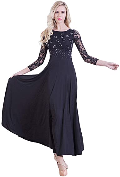 Women Modern Waltz Tango Smooth Latin Ballroom Competition Dance Ball Gown Dress
