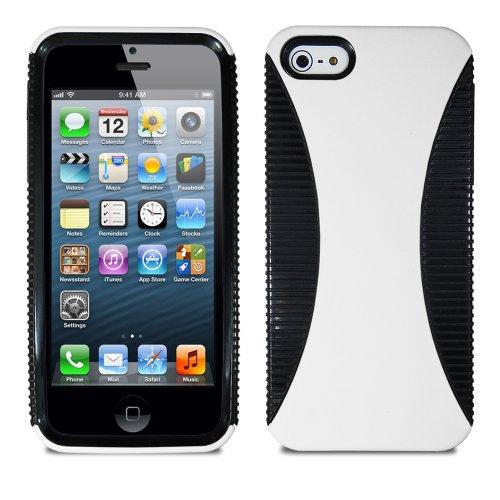 Lumii Ark TWIST Series Hybrid PC + TPU 2 in 1 Protector Skin Cover Case for Apple iPhone 5 - Black/White