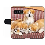 MSD Premium Phone Case Designed for Galaxy Note 8 Flip Fabric Wallet Case Image ID: Young Pets Four Akita Inu Puppy Dogs at Couch Group of Animals Image 2600 7