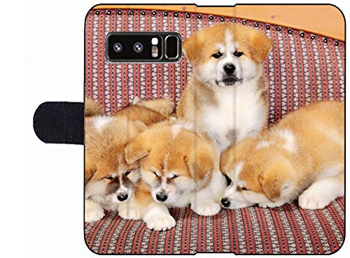MSD Premium Phone Case Designed for Galaxy Note 8 Flip Fabric Wallet Case Image ID: Young Pets Four Akita Inu Puppy Dogs at Couch Group of Animals Image 2600 2