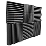 Mybecca 6 Pack Acoustic Foam Wedge 2'' X 12'' X 12'' Studio Soundproofing Panels (6 Square Feet), Charcoal