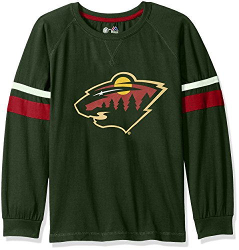 Profile Big & Tall NHL Minnesota Wild Long Sleeve Tee with Double Arm Stripes, Medium, Dark Green - Minnesota Wild Long Sleeve
