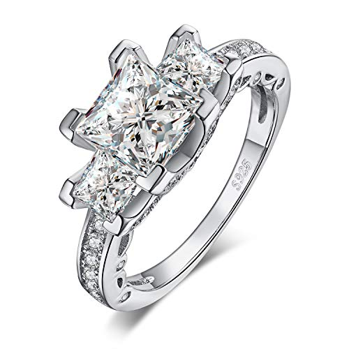 JewelryPalace 3ct Princess Cut Cubic Zirconia 3 Stone Engagement Ring 925 Sterling Silver size 6 ()