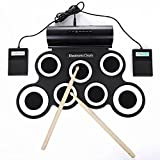 Electronic Drum set for kids,Rechargable Portable Roll Up electronic drum kit Practice Pad built in Battery Speakers with Headphone Jack,durn sticks,Foot Pedals (White)