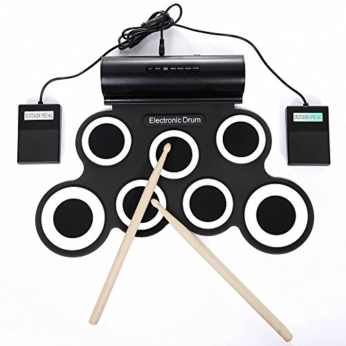 Electronic Drum set for kids,Rechargable Portable Roll Up electronic drum kit Practice Pad built in Battery Speakers with Headphone Jack,durn sticks,Foot Pedals (White) by Irondefy