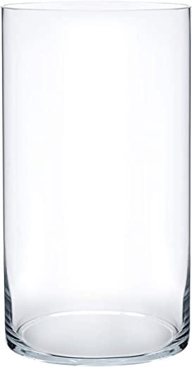 """Royal Imports Flower Glass Vase Decorative Centerpiece for Home or Wedding Cylinder Shape, 12"""" Tall, 6"""" Opening, Clear"""