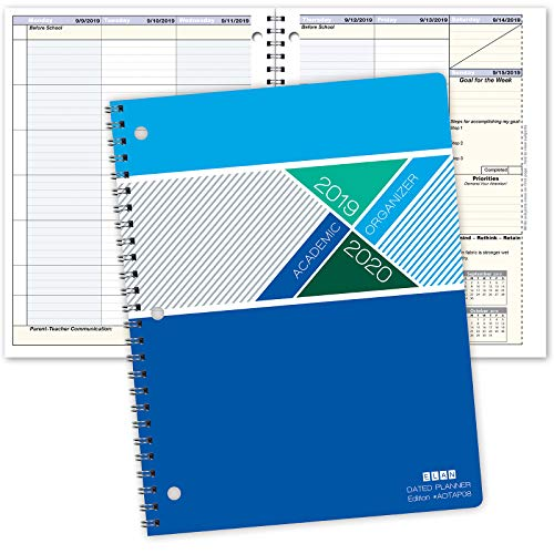 "Student Academic Organizer - 8.5"" x 11"" Weekly View; Dated for 2019-2020 Academic Year (AOTAP-Dated)"