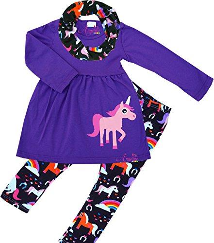 Boutique Girls Fall Winter Clothes - Angeline Boutique Clothing Girls Winter Fall Spring Cowgirls Unicorn Scart Set Purple 5T/L