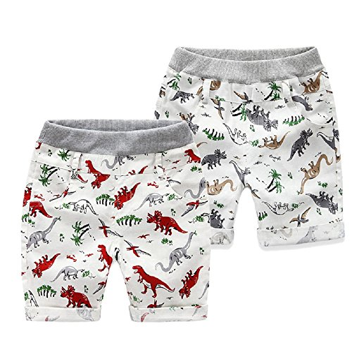Yilaku Toddler Boys Shorts Summer Baby Boy Clothes Cartoon Kids Clothing Dinosaur 2-7Y