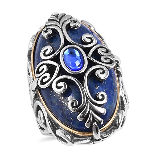 Cocktail Statement Ring for Women Lapis Lazuli Blue Crystal Black Oxidised ION Plated Yellow Gold Stainless Steel Gift Jewelry Size 8 (Clock Crystal Simon)