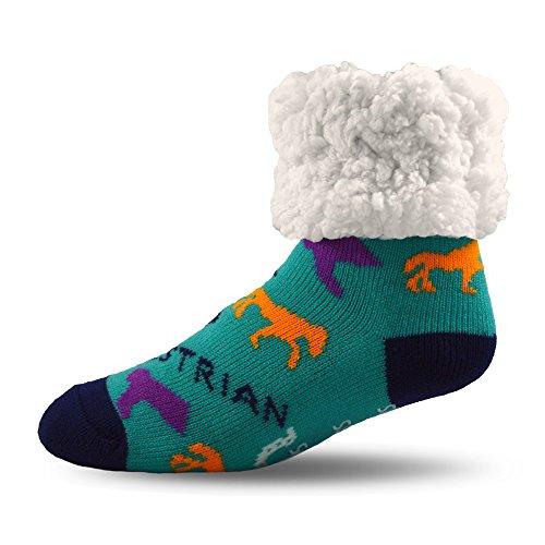 Pudus horse aqua adult regular cozy winter classic slipper socks with grippers