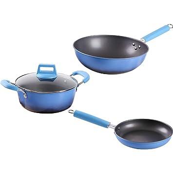 Utensilios De Cocina Set De Ollas Y Sartenes Antiadherentes Recubiertos De Teflón, Con Asa, Lavavajillas-Safe,Blue,4Piece: Amazon.es: Hogar