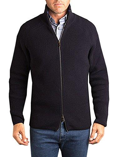 David Donahue Water Repellent Merino Wool Double Zip Cardigan (Navy, M) - Double Zip Cardigan