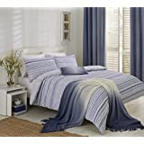 NAUTICAL STRIPES PIN TUCK BLUE WHITE COTTON BLEND CANADIAN QUEEN SIZE (230CM X 220CM - UK KING SIZE) DUVET COMFORTER COVER