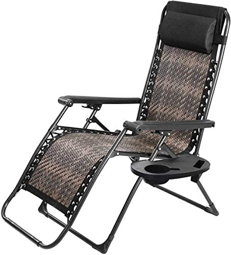 Crownland Outdoor Furniture PE Wicker Zero Gravity Lounge Folding Chair