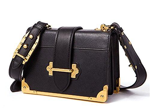 XinMaoYuan pequeña bolsa de hombro bolsa cuadrado Retro Hit Messenger bolsos de cuero de color Negro