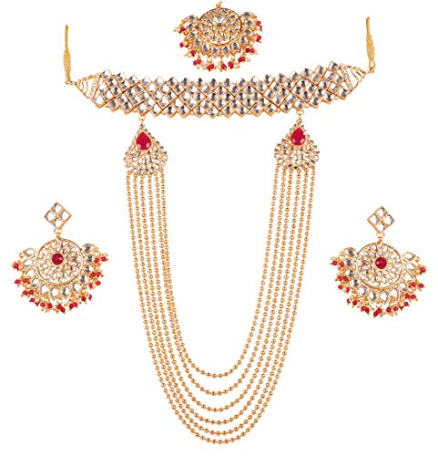 Touchstone New Contemporary Kundan Collection Indian Bollywood Replica A Wow Master Mughal Kundan Look Faux Ruby Designer Jewelry Creation Grand Long Bridal Choker in Gold Tone for Women