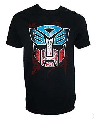 26638b4431085 Official Transformers Autobot Logo Stencil T-Shirt Adult Black ...