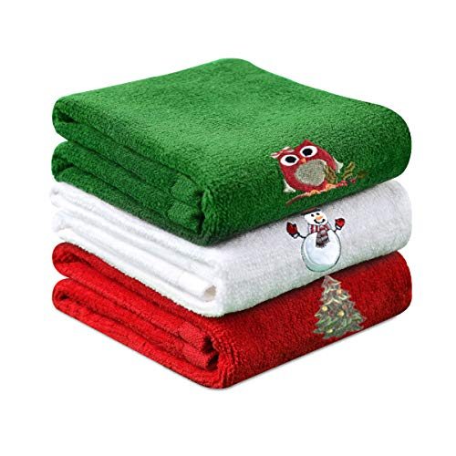 Christma Towels Dish Towel, 3Packs 12 x 18 inch Cotton Towels Bathroom Kitchen Wash Basin Drying Cleaning for Home and Kitchen (Green)