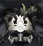 Mens Mythological Silver/black Hercules with Feather Greek Style Party Mask Mens Mythological Greek Style Party Mask Mardi Gras Majestic Party Halloween Ball Prom